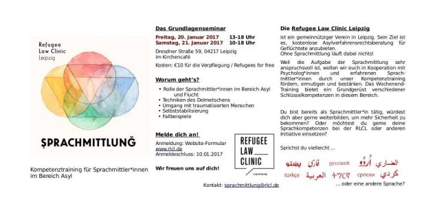 Workshop für Sprachmittler*innen am 20 + 21.01. in der Dresdner59